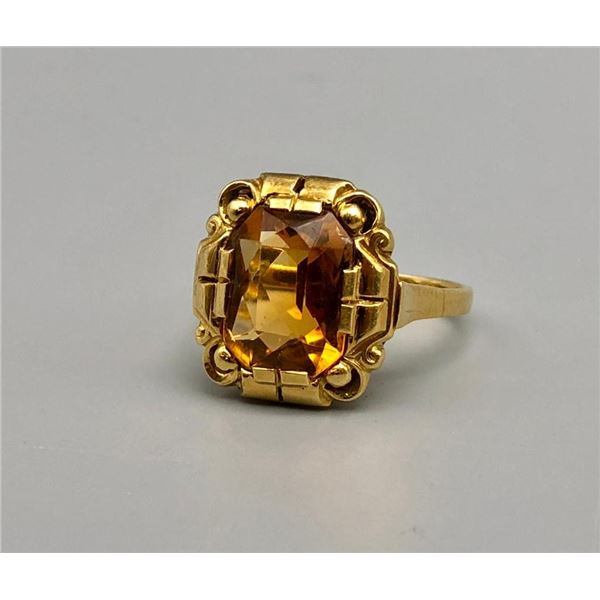 18k Gold and Emerald Cut Citrine Ring