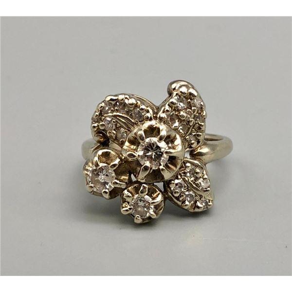 14k White Gold and Diamond Estate Ring