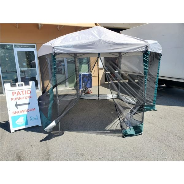 Coleman back home one peak hexagon folding canopy with screen house approx 10ft diameter with bag pa