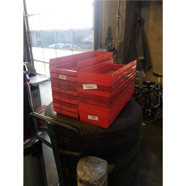 LOT OF RED PARTS BINS - 18 PIECES