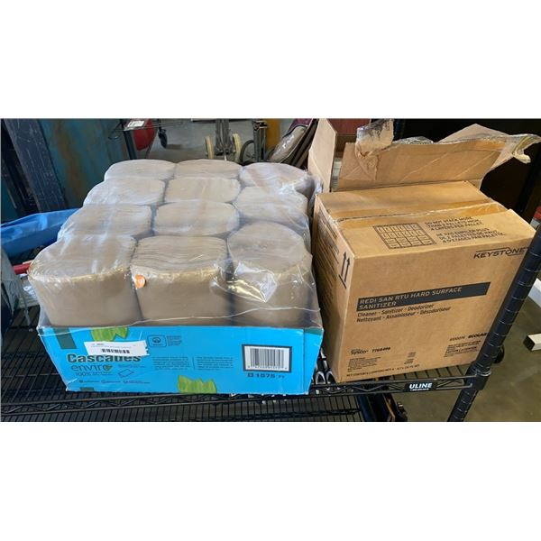 2 BOXES OF REDI SAN HARD SURFACE SANITIZER AND BOX OF CASCADES PAPER TOWELS