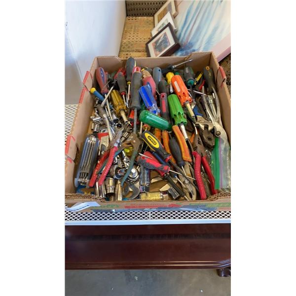 TRAY OF HAND TOOLS, WRENCHES, SCREWDRIVERS