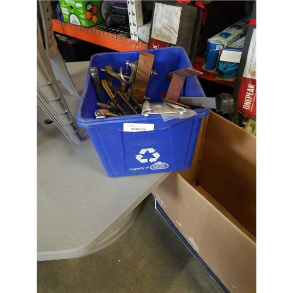 Tote of tools, clamp, jump cables and more