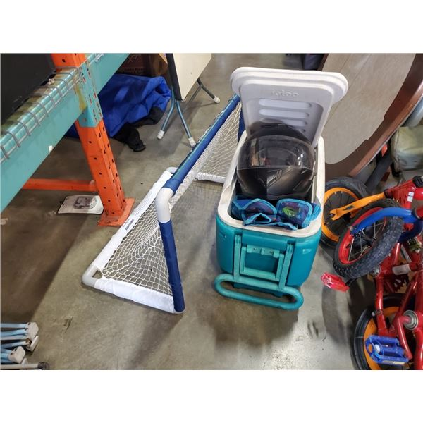 COOLER WITH MOTORCYCLE HELMET, MINI HOCKEY NET FOLDING CHAIR AND CLEATS