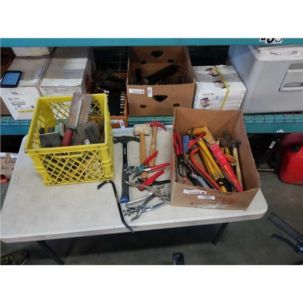 BOX AND CRATE OF HAND TOOLS, HAMMERS, SANDERS, DRYWALL TOOLS