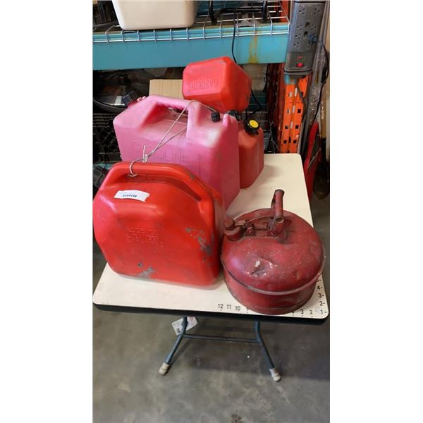 4 jerry cans and metal gas can