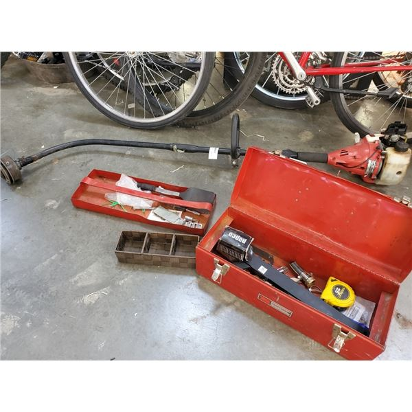 TOOLBOX WITH CONTENTS AND HOMELITE WEEDEATER