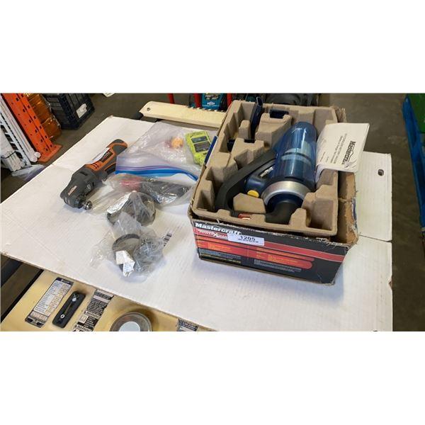 Carbon monoxide Is detector, Rigid power tool no battery, Welding ground clamp, Mastercraft 18v cord