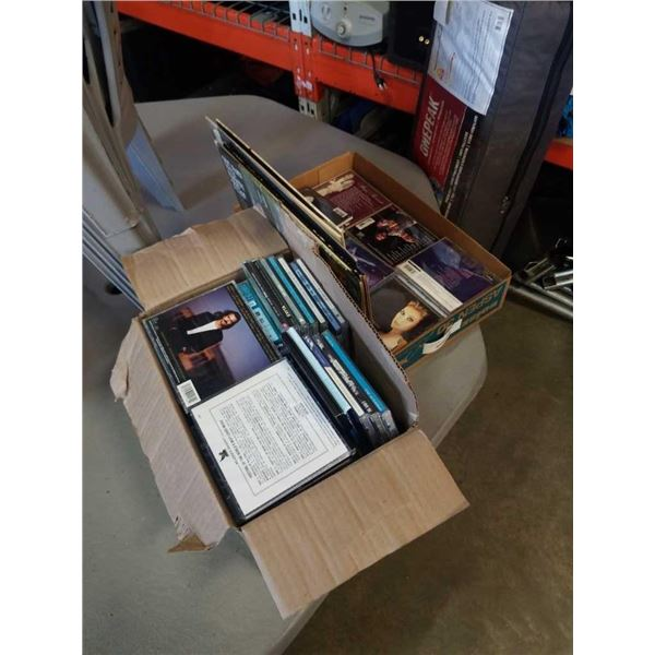 BOX AND TRAY OF CDS AND RECORDS