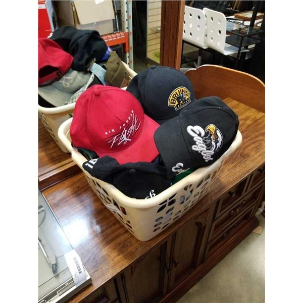 BASKET OF HATS - AIR JORDAN, BRUINS, EAGLES AND OTHERS