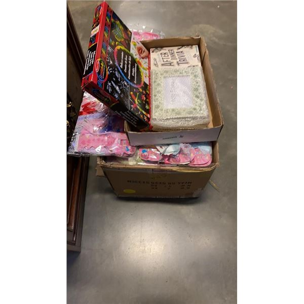 BOX OF NEW HAIR TIE RIBBONS WITH DELUXE COMBO ART KIT AND FRAMES
