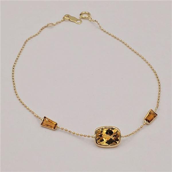 NEW 10KT YELLOW GOLD GENUINE CITRINE BRACELET W/ APPRAISAL $995