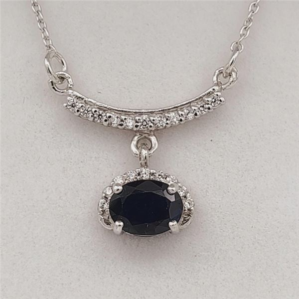 NEW STERLING SILVER GENUINE BLUE SAPPHIRE AND CZ NECKLACE W/ APPRAISAL $720