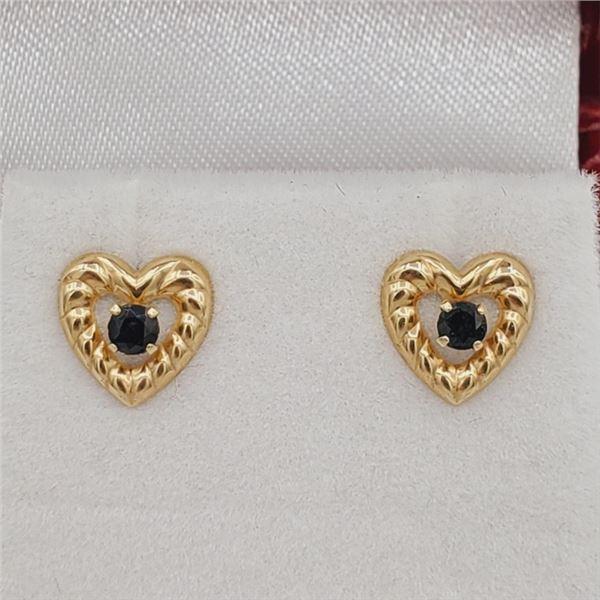 NEW YELLOW GOLD GENUINE SAPPHIRE HEART EARRINGS W/ APPRAISAL $895
