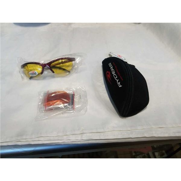 PAIR OF NEW RYDERS SWITCH SUNGLASSES WITH CASE AND INTERCHANGEABLE LENSES - RED FRAME - RETAIL $59