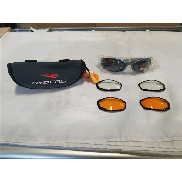 NEW PAIR OF RYDER COILERS SUNGLASSES WITH INTERCHANGEABLE LENSES AND CASE - RETAIL $79