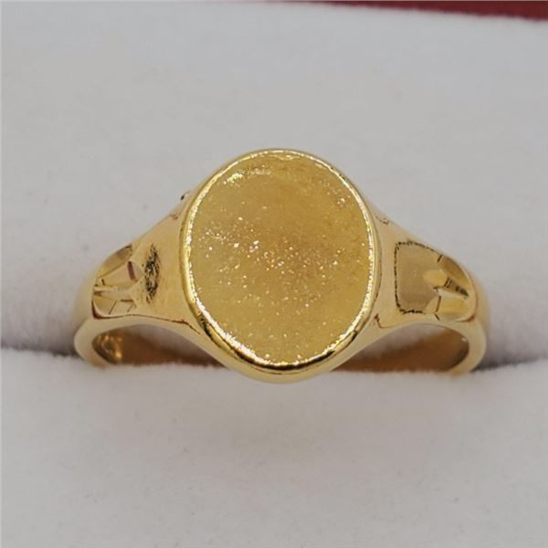 NEW STERLING SILVER YELLOW GOLD PLATED SIGNET RING - RETAIL $300