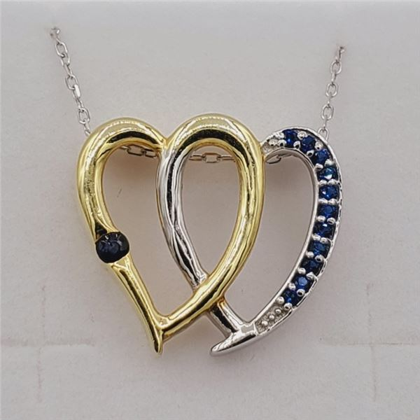NEW STERLING SILVER YELLOW GOLD PLATED GENUINE SAPPHIRE HEART PENDANT W/ STERLING CHAIN W/ APPRAISAL