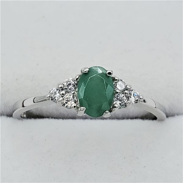 NEW STERLING SILVER GENUINE EMERALD AND CZ RING W/ APPRAISAL $675