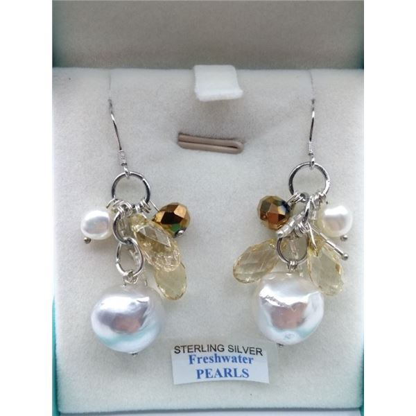 NEW STERLING SILVER DANGLE EARRINGS SET WITH 4 FRESH WATER PEARLS AND ASSORTED CRYSTALS RETAIL $450