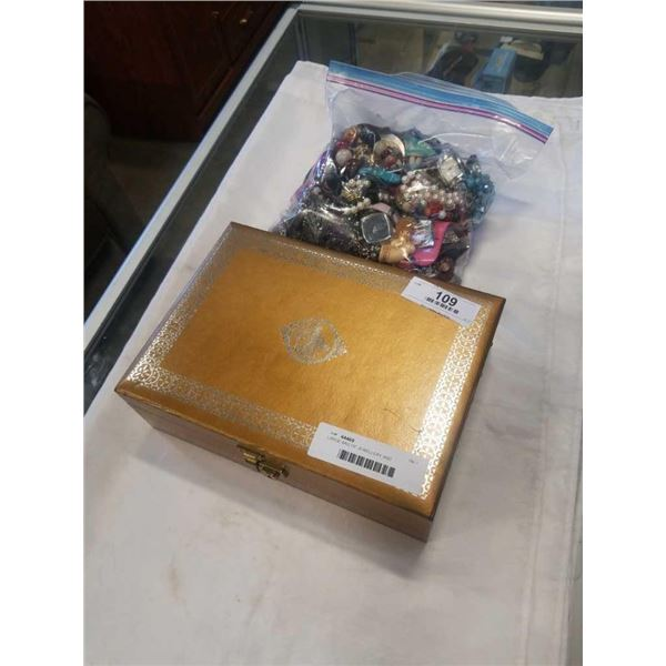 LARGE BAG OF JEWELLERY AND JEWELLERY CASE W/ CONTENTS