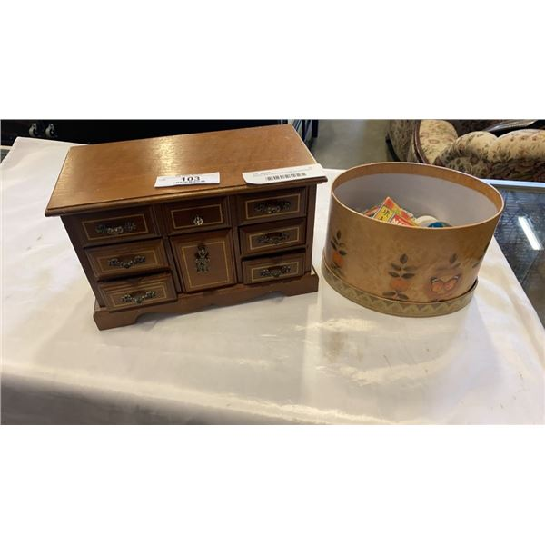 JEWELLERY BOX AND CASE W/ CONTENTS