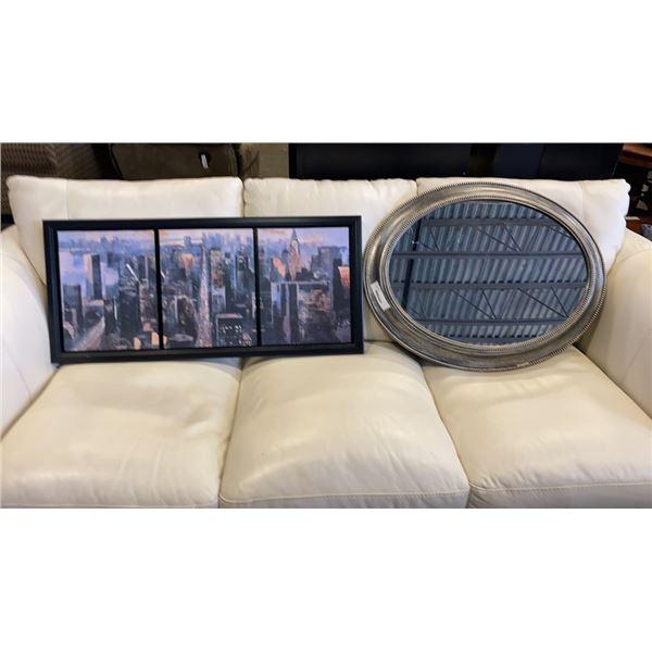 Manhattan skyline and oval mirror
