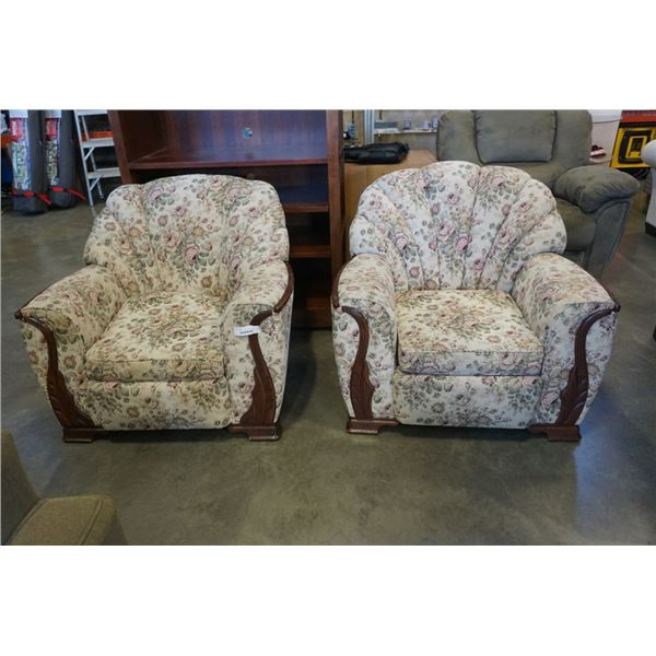 PAIR OF WOOD FRAMED CHANNEL BACK ARMCHAIRS