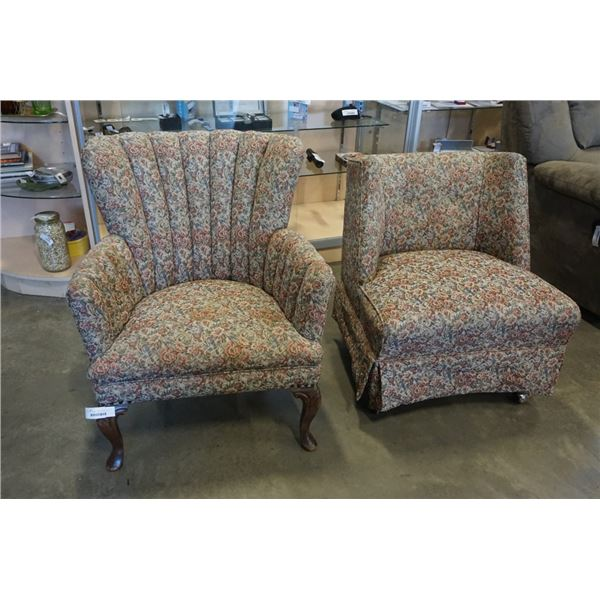 2 VINTAGE CHAIRS - ONE CHANNEL BACK, ONE ROLLING