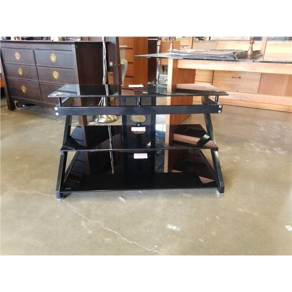 BLACK AND GLASS TV STAND - 40 INCHES WIDE X 22 TALL X 22 DEEP