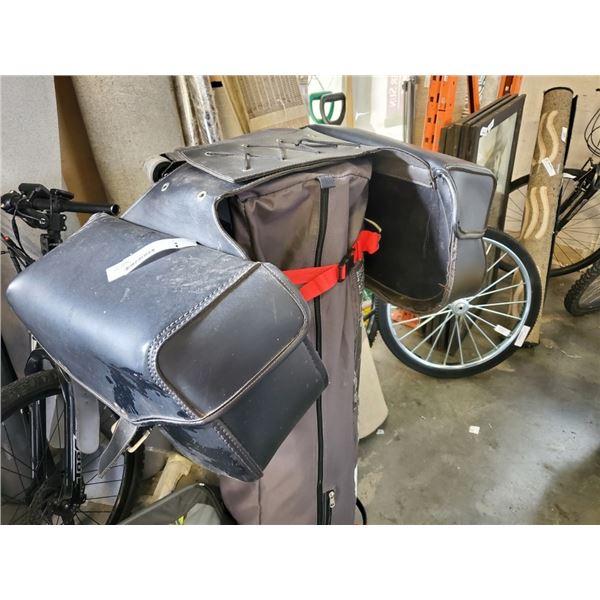 BLACK MOTORCYCLE SADDLE BAGS