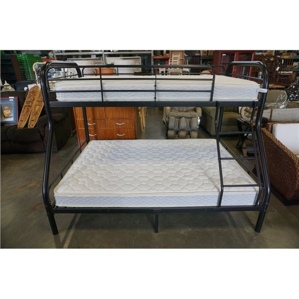 DOUBLE AND TWIN SIZE BLACK METAL BUNKBED WITH BOTH MATTRESSES