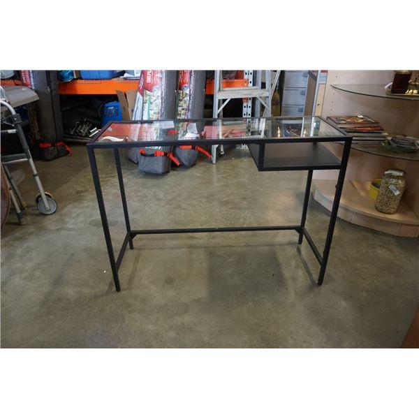 BLACK IKEA GLASSTOP DESK - 39.5 INCHES WIDE X 29 TALL X 14.5 DEEP