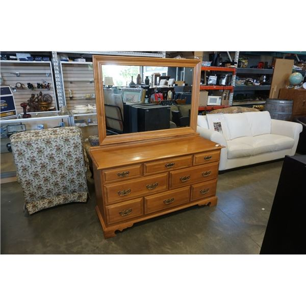 ROXTON MAPLE DRESSER WITH MIRROR - 57 INCHES WIDE X 68 TALL X 18.5 DEEP
