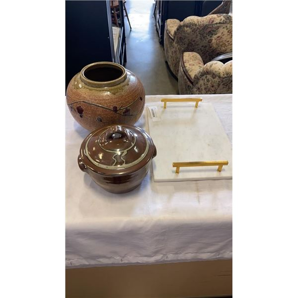POTTERY PLANTER, LIDDED POT AND MARBLE SERVING TRAY WITH BRASS HANDLES