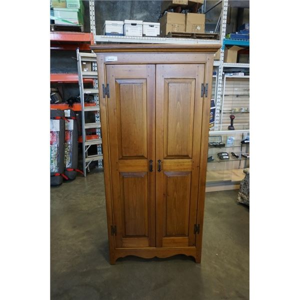 PINE CABINET - 74 INCHES TALL, 3 FOOT WIDE, 18 INCHES DEEP