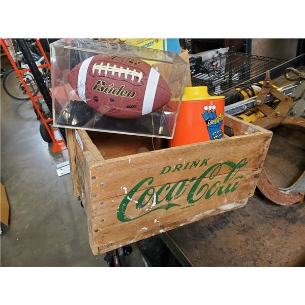 COCA COLA WOOD CRATE WITH SIGNED FOOTBALL AND TIN