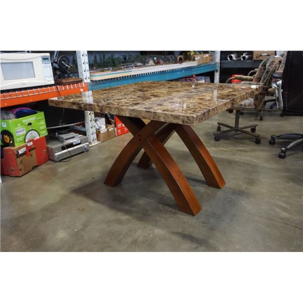 STONE LOOK DINING TABLE - 42 INCHES X 42 X 28.5 TALL