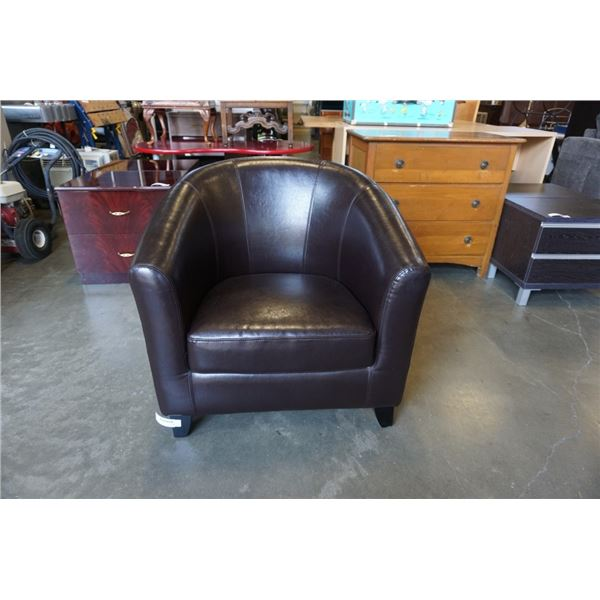 LEATHER LOOK BUCKET CHAIR