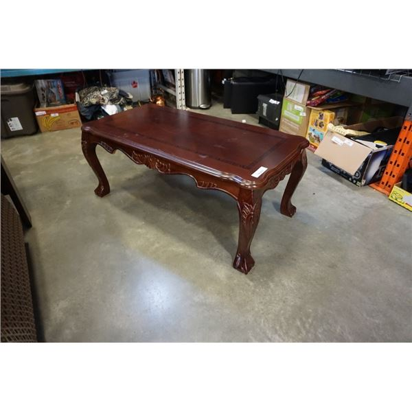 Inlaid claw foot coffee table - 47 inches x 23 x 19 tall