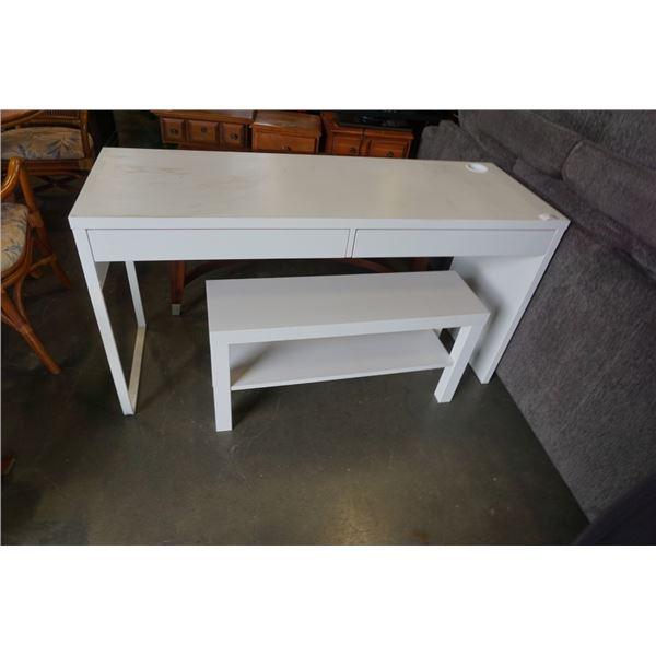 WHITE 2 DRAWER DESK AND 2 TIER STAND - DESK IS 56 INCHES WIDE X 29.5 TALL X 19.5 DEEP
