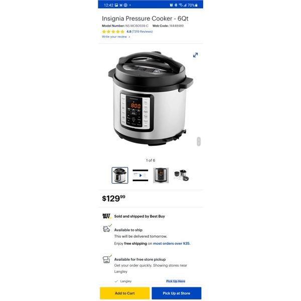 As new Insignia Pressure Cooker - 6Qt tested and working