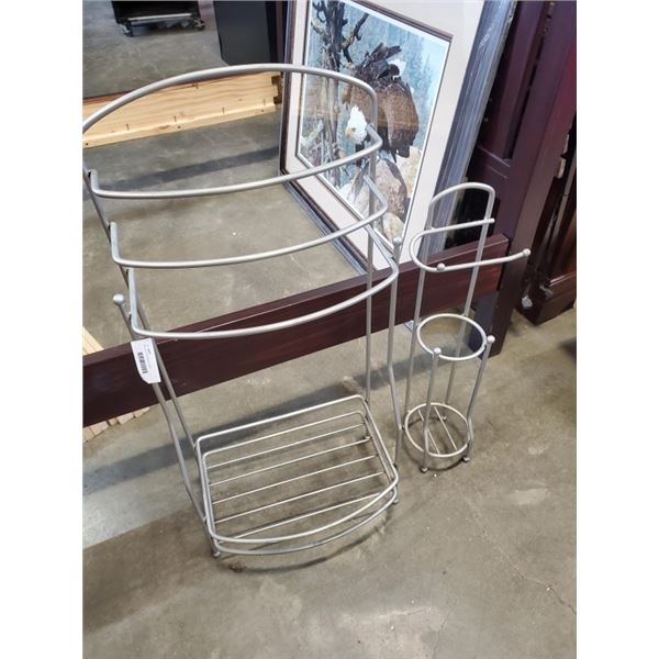 Metal rack and toilet paper holder