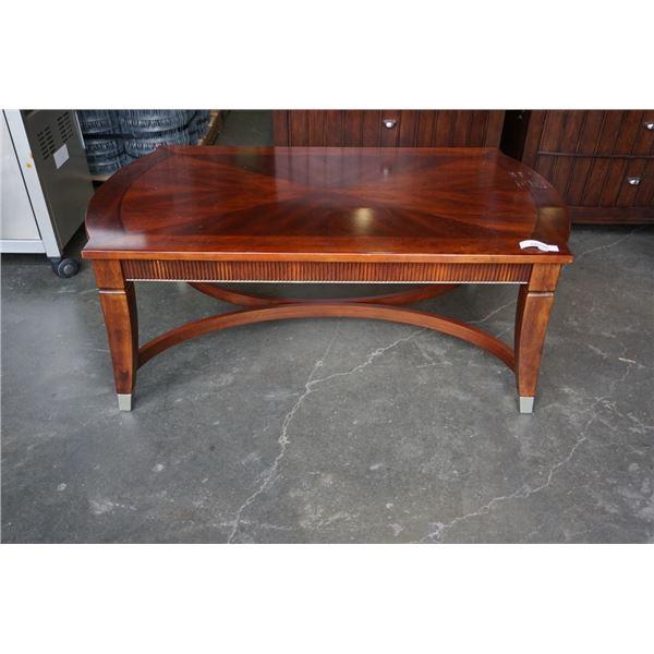 MAHOGANY FINISH COFFEE TABLE - 62 INCHES X 30.5 X 20 TALL
