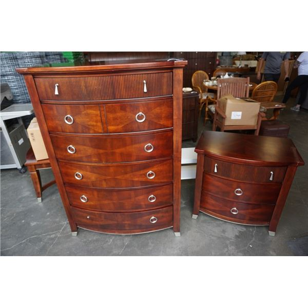 SOMERTON 5 DRAWER CHEST OF DRAWERS AND 3 DRAWER NIGHTSTAND - 40 INCHES WIDE X 56.5 TALL X 20 DEEP