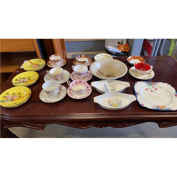 LOT OF CHINA TEACUPS, SAUCERS AND DISHES