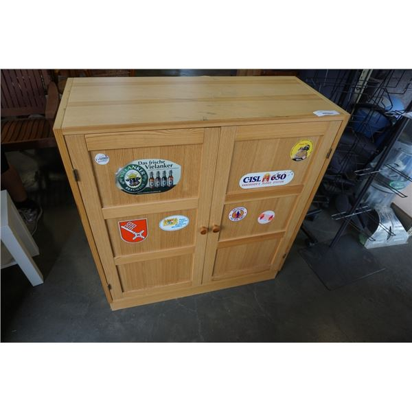 PINE CABINET - 35.5 INCHES WIDE X 40 TALL X 15 DEEP