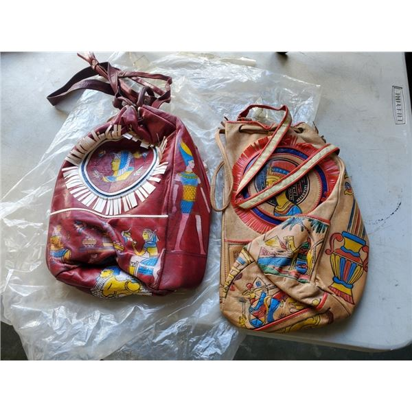 2 LEATHER EGYPTIAN BAGS