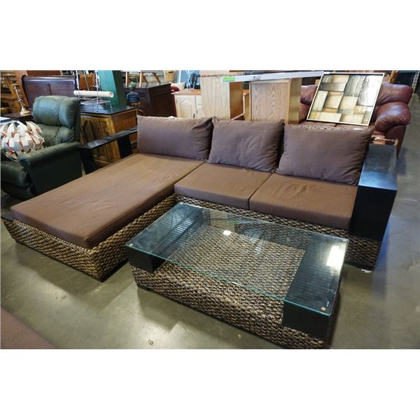 FLOOR MODEL AUTHENTIC WATER HYACINTH RATTAN MODERN 2 PIECE SECTIONAL SOFA W/ SOLID WOOD DISPLAY SHEL