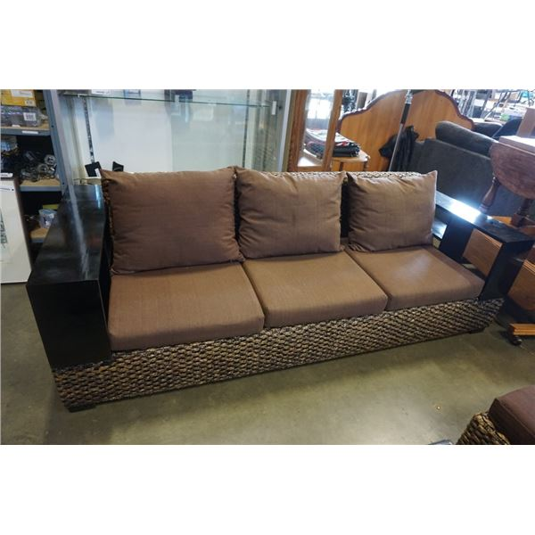 FLOOR MODEL AUTHENTIC WATER HYACINTH RATTAN MODERN SOFA W/ SOLID WOOD DISPLAY SHELVE ARMS AND BROWN